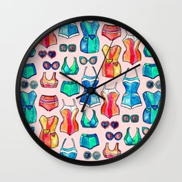 Sixties Swimsuits and Sunnies on blush pink Wall Clock