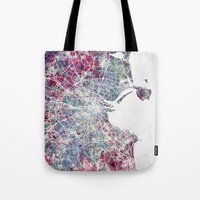dublin Tote Bags featuring Dublin by MapMapMaps.Watercolors