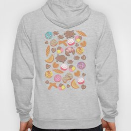 Mexican Sweet Bakery Frenzy // white background // pastel colors pan dulce Hoody