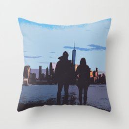 Couple Looking At New York City Skyline Artistic Throw Pillow