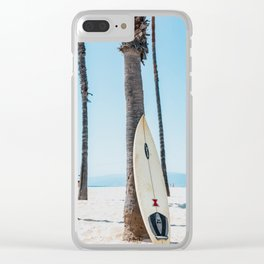 Surfboard By The Ocean Clear iPhone Case