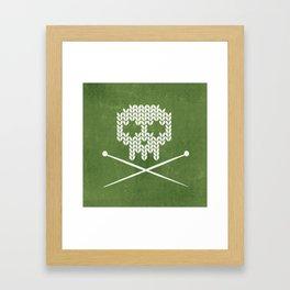 Knitted Skull - White on Olive Green Framed Art Print