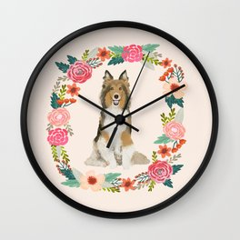 Sheltie floral wreath dog breed shetland sheepdog pet portrait Wall Clock