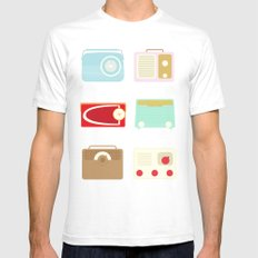 Radios White Mens Fitted Tee SMALL