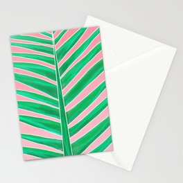 Modern green tropical palm tree leaf watercolor on pink Stationery Cards