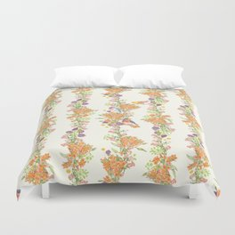 Romantic Vintage Design of Birds & Flowers - Natural colorful Duvet Cover
