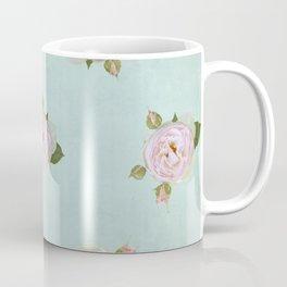Vintage Pale Pink Roses on Aqua Coffee Mug