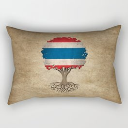 Vintage Tree of Life with Flag of Thailand Rectangular Pillow