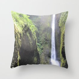 Waterfalls at the end of the Gorge Throw Pillow