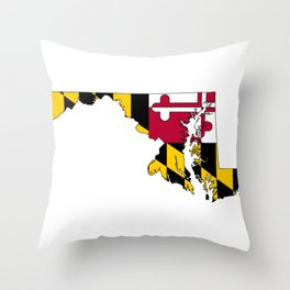 Maryland Map with Flag of Maryland Throw Pillow