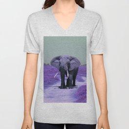 African Bull Elephant in Purple Unisex V-Neck