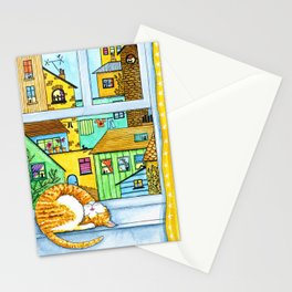 Ginger & White Cat at the Window Stationery Cards