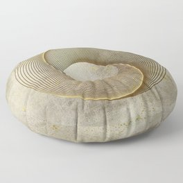 Geometrical Line Art Circle Distressed Gold Floor Pillow