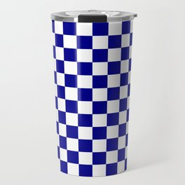 Small Checkered - White and Dark Blue Travel Mug
