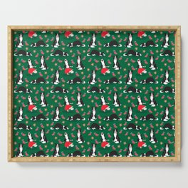 Christmas Border Collie - green Serving Tray