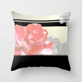 Pink & Grayscale Flower Collage Throw Pillow
