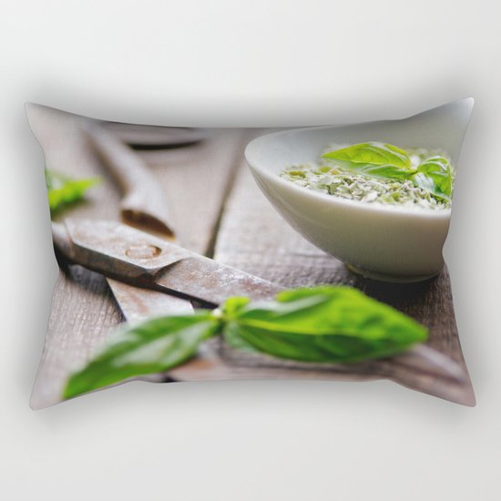 Herbs Kitchen still life from Basil Rectangular Pillow