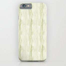 Olive Green Watercolor Stripes iPhone Case