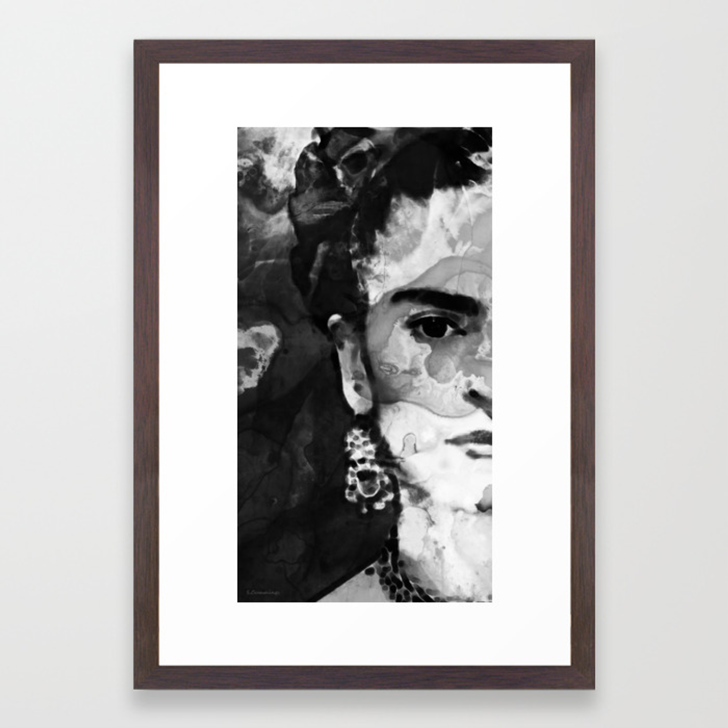 Black and white frida kahlo by sharon cummings framed art print by sharoncummings society6