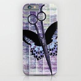 hair stylist scissors shears butterfly grunge purple iPhone Case