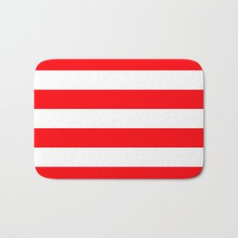 Christmas Red and White Cabana Stripes Bath Mat