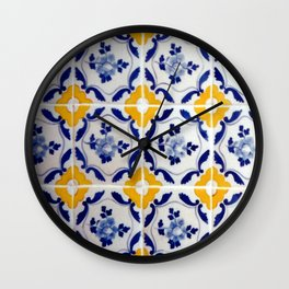 Blue and yellow tile Wall Clock