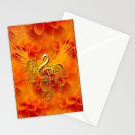Clef with flowers Stationery Cards