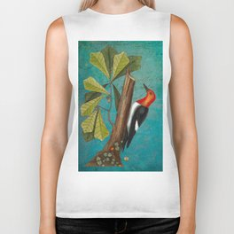 Red Headed Woodpecker with Oak, Natural History and Botanical collage Biker Tank