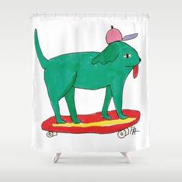 Skater Dog Shower Curtain