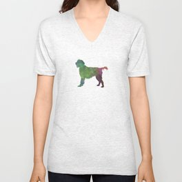 Wirehaired Pointing Griffon Korthals in watercolor Unisex V-Neck