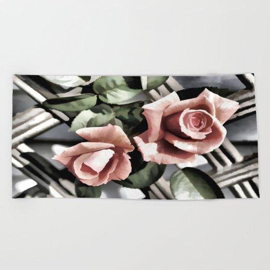 Pink Rose Garden - Painterly Beach Towel