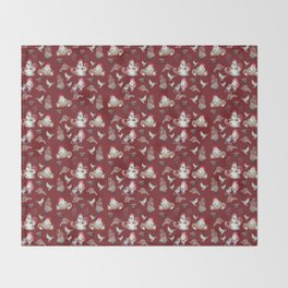 Red Gnome Pattern - Christmas Throw Blanket