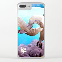 Sea Lions In Love Painting Clear iPhone Case