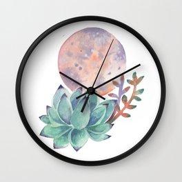 Succulent Full Moon Wall Clock