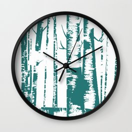 Old Growth Birch Forest in Blue Wall Clock