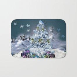 Snowy Blue Christmas Scene Bath Mat