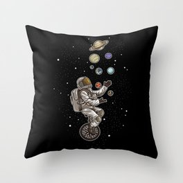 Astronaut Juggles Planets On A Unicycle | Spaceman Throw Pillow