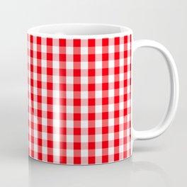 Large Christmas Red and White Gingham Check Plaid Coffee Mug