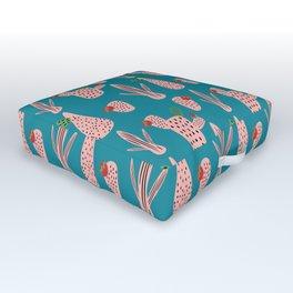 Mid Mod Cactus Teal Outdoor Floor Cushion