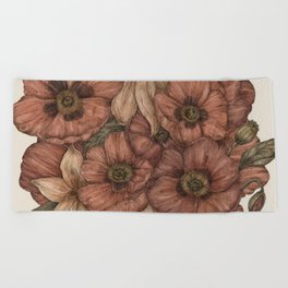 Poppies and Lilies Beach Towel