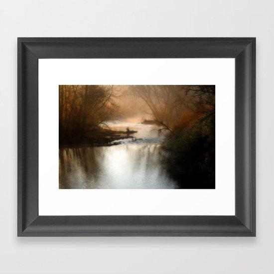 Foggy Alum Creek on a chilly fall morning Framed Art Print