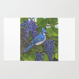 Blue Jay and Grapes Rug