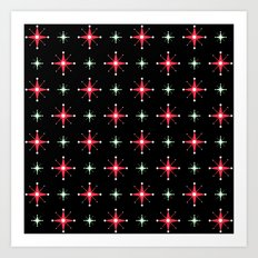 Retro Red & Green Stars on Black Art Print