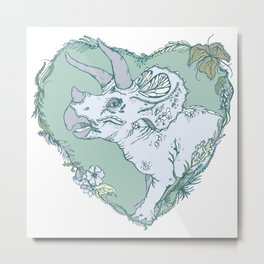 Triceratops Heart - Green Metal Print