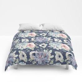 Beautiful Succulent Garden Navy Blue + Pink Comforters