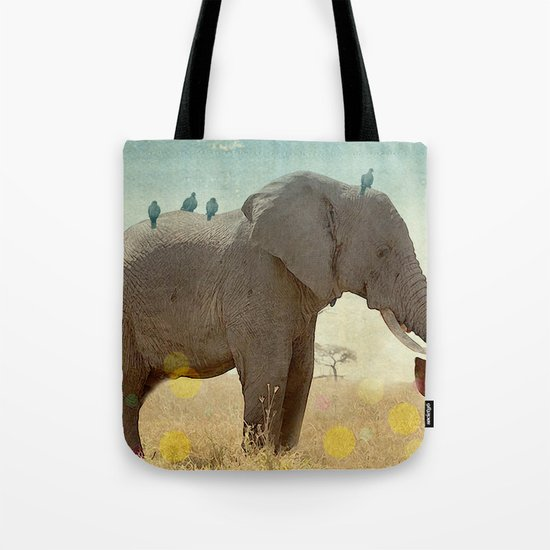 along for the ride _ an elephant and his feathered friends Tote Bag