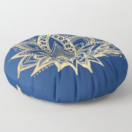 Gold and Blue Lotus Flower Mandala Floor Pillow