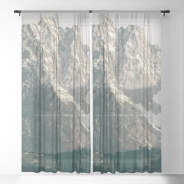 Mountain Peaks in Summer   Landscape Photography Alps   Print Art Sheer Curtain