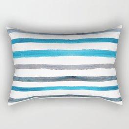 Azure blue and grey watercolor stripes Rectangular Pillow