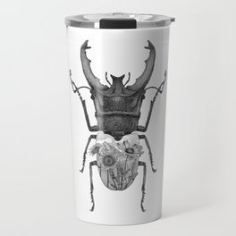 Stag Beetle with Mountain Scene Travel Mug